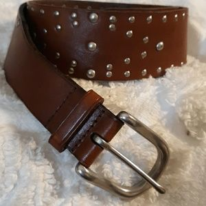 Leather Belt with Silvertone Studs